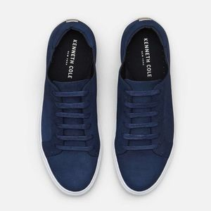 Kenneth Cole Navy Blue Platform Leather Sneaker